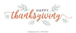 happy thanksgiving calligraphy text illustrated 260nw 743717227